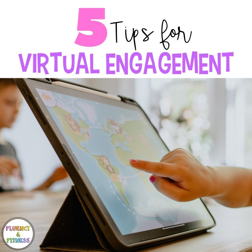 5 Tips for Virtual Engagement - student point to picture of map on I-Pad