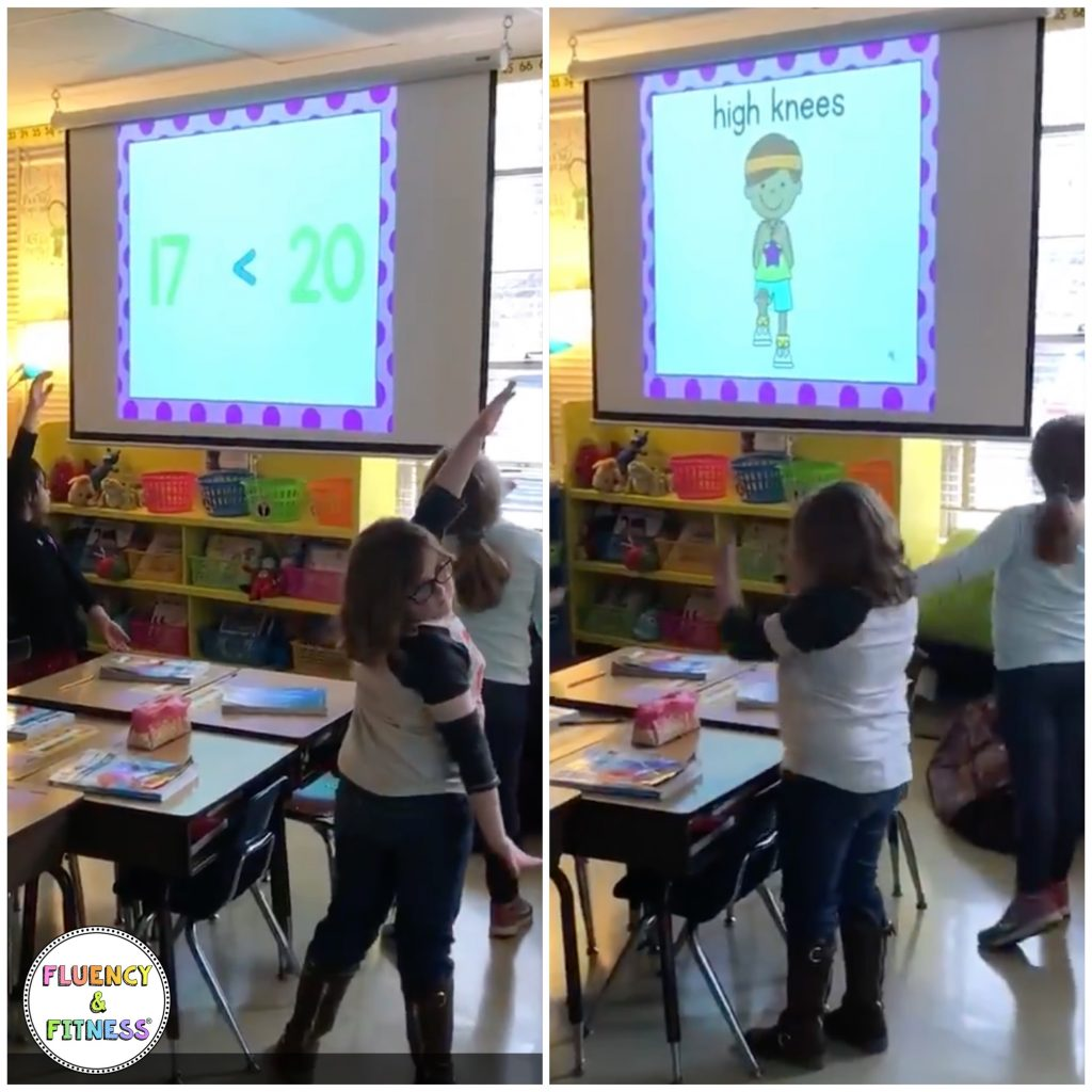 students working on comparing numbers and doing exercises for brain breaks