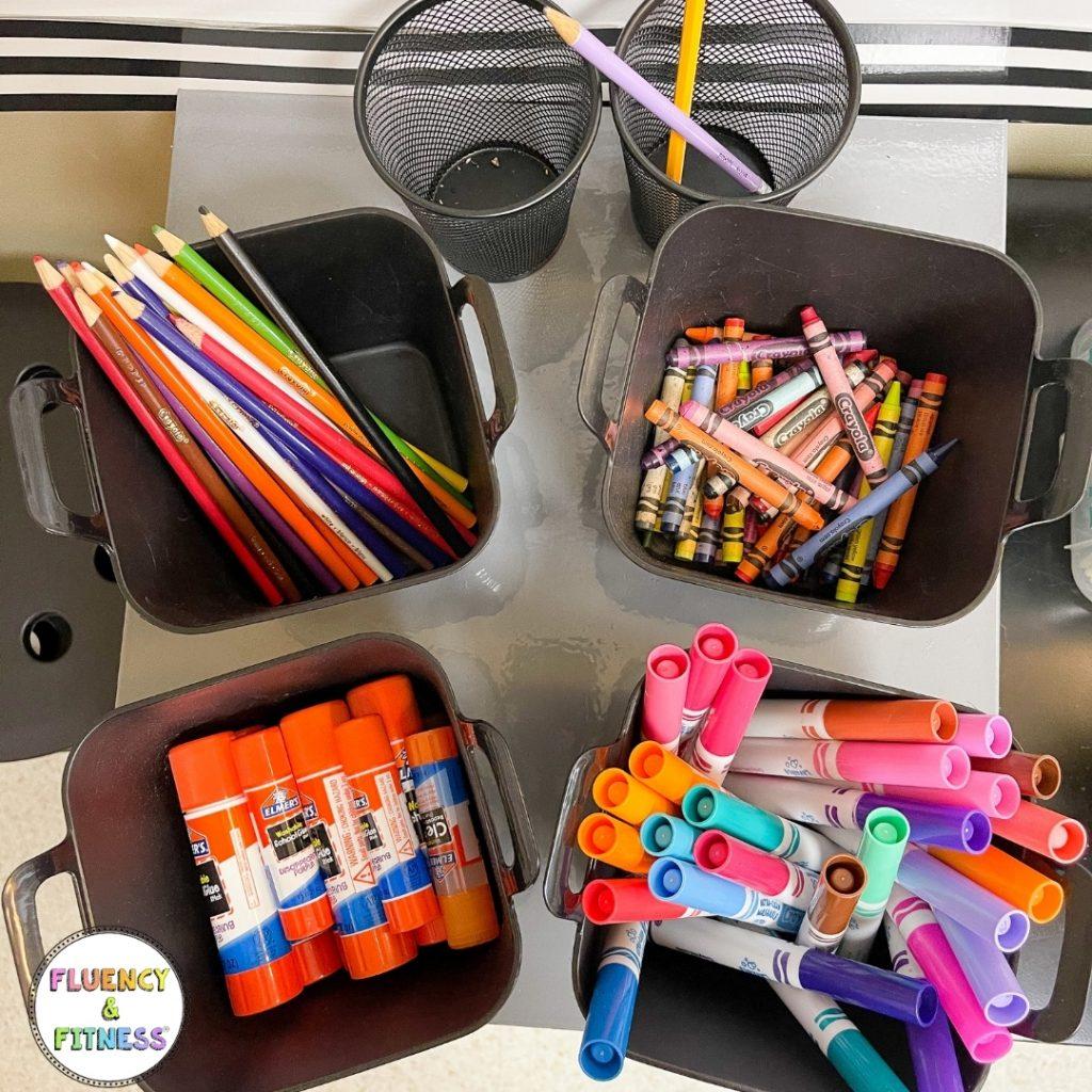 extra classroom supplies in bins