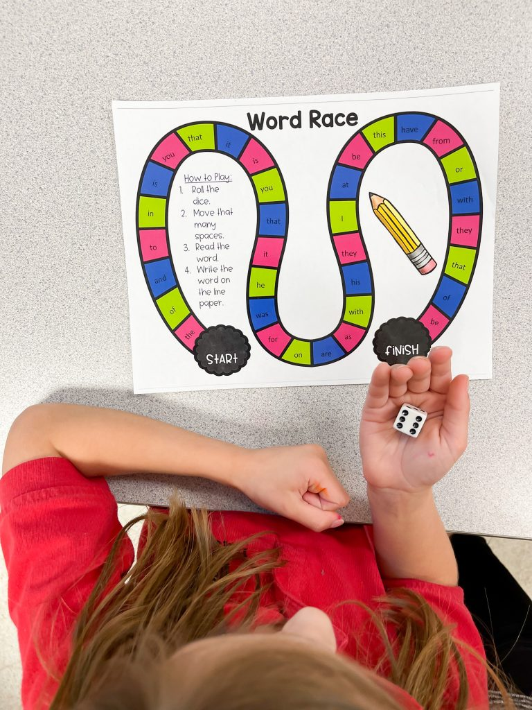 student playing sight word board game