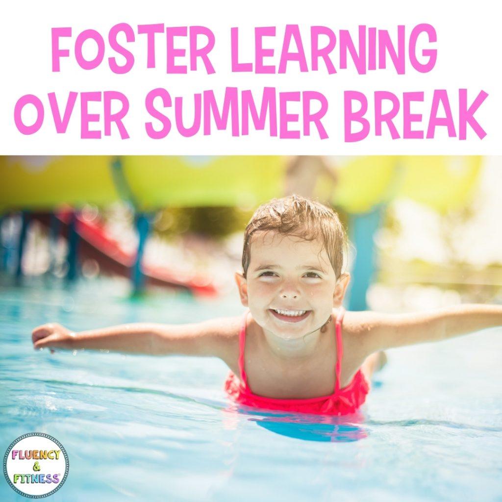 Foster learning over summer break. Child swimming.
