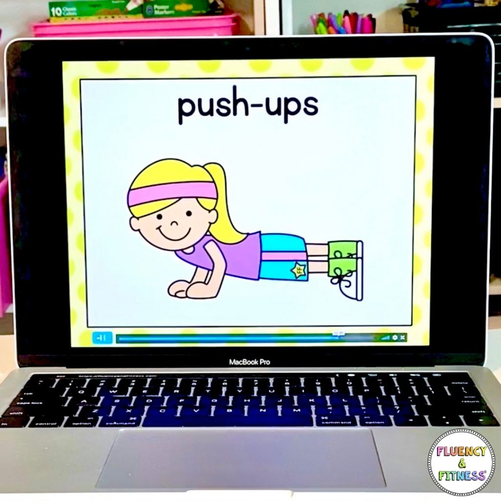 fluency and fitness website slide with exercise