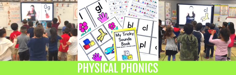 kids doing physical phonics in the classroom to learn phonics with movement