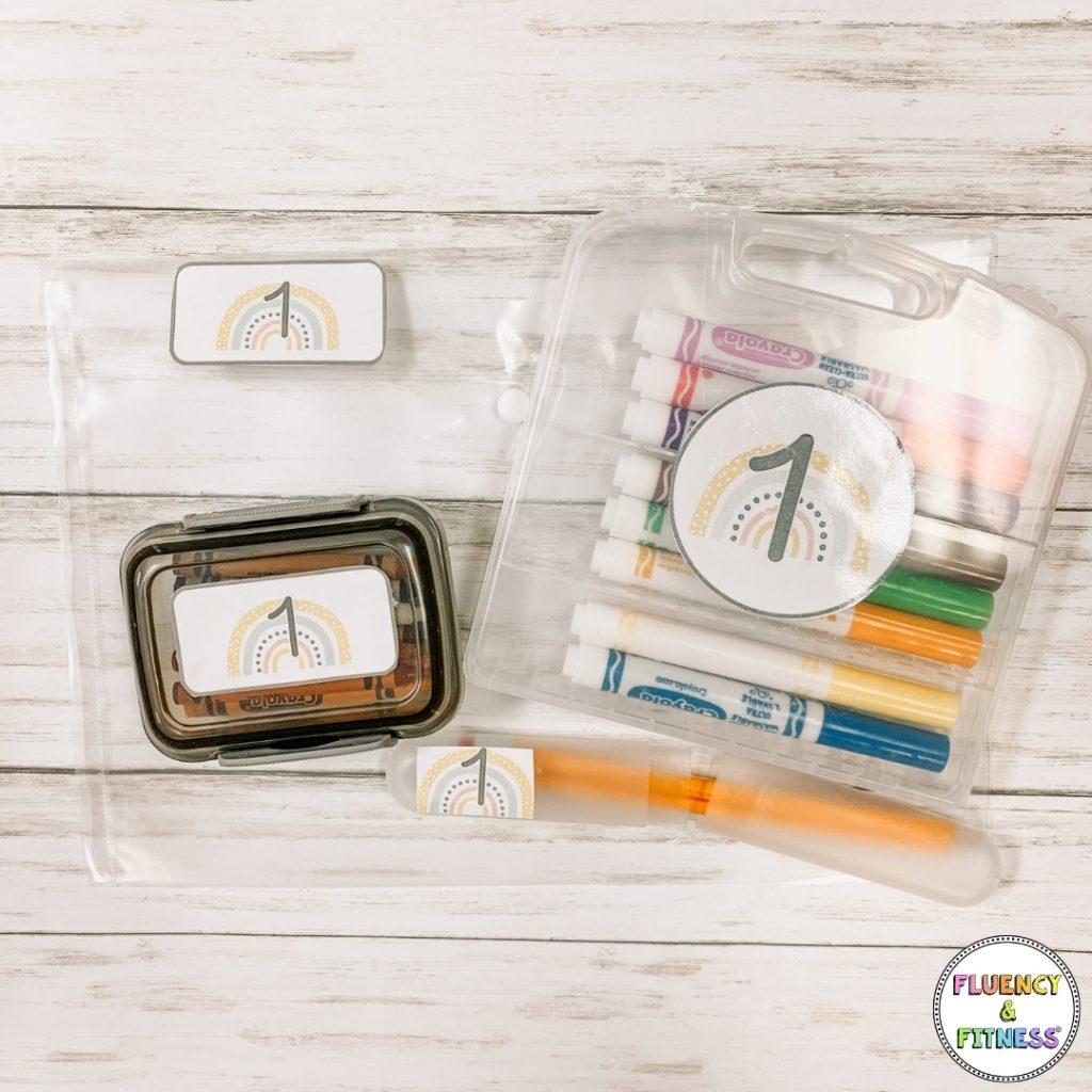 organized classroom supplies