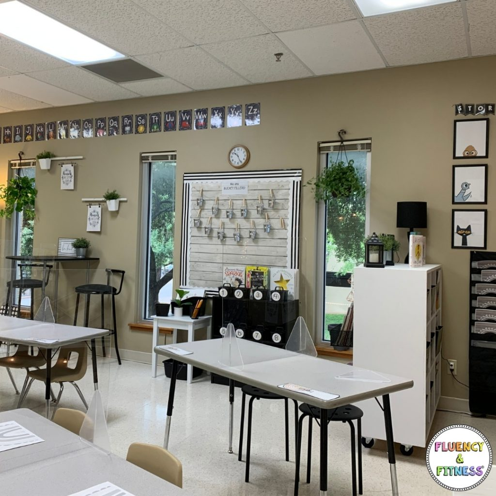classroom tables and stations