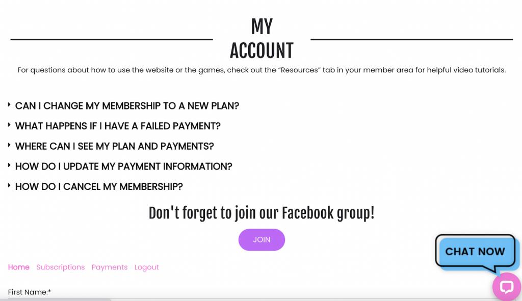My Account screen
