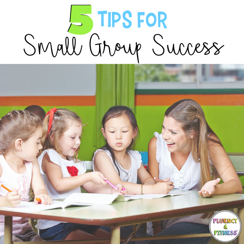 5 tips for small group success. students working with teacher.