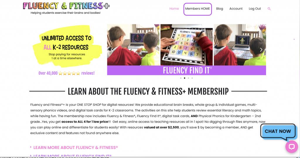 Fluency and Fitness membership homepage screen