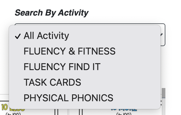 Search by Activity: Physical Phonics tab