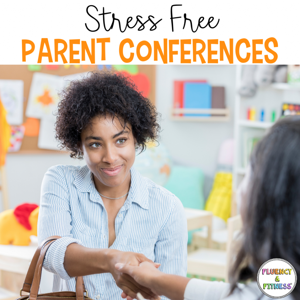 stress free parent conferences parent and teacher shaking hands with smile